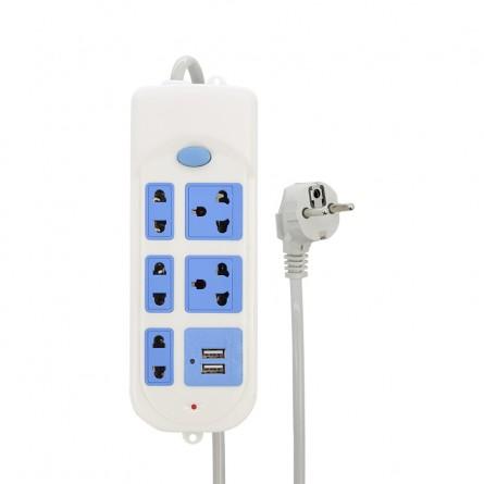 Зображення Мережевий фільтр Amely AD-ES1004 USB 5m (5 розеток, 2 USB, 1A) - зображення 2