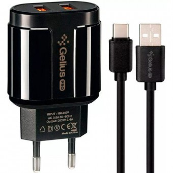 Зображення МЗП Gelius Avangard GP HC 06 2USB 2.4A   Cable Type-C Black