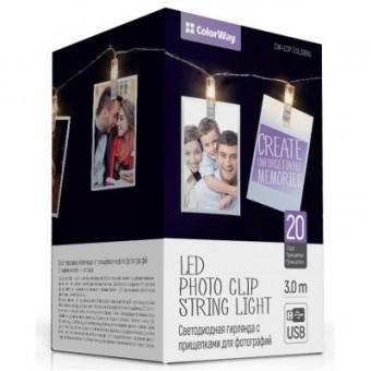 Зображення Гірлянда Colorway Светодиодная с прищепками для фото 20 LED/3M USB (CW-LCP-20L30BU)