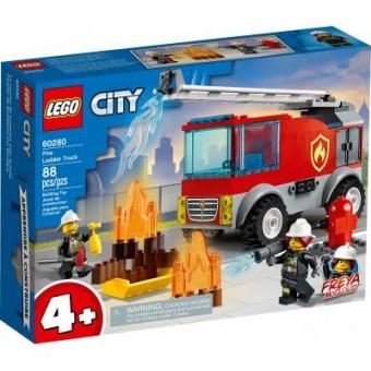 Зображення Конструктор Lego Конструктор  City Fire Пожарная машина с лестницей 88 деталей (60280)