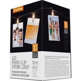 Зображення Гірлянда Colorway 10 LED, 1.5м, гирлянда с прищепками (CW-LCP-10L15B)