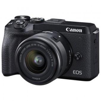 Зображення Цифрова фотокамера Canon EOS M6 Mark II   15-45 IS STM   EVF Kit Black (3611C053)