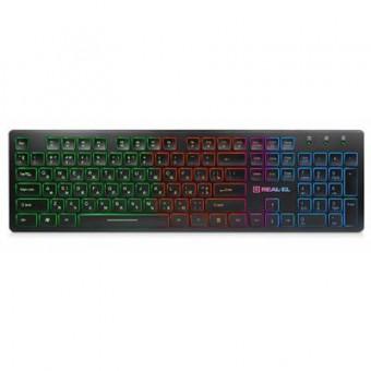 Зображення Клавіатура REAL-EL 7070 Comfort Backlit, black