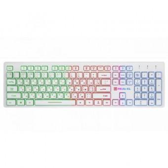 Зображення Клавіатура REAL-EL 7070 Comfort Backlit, white